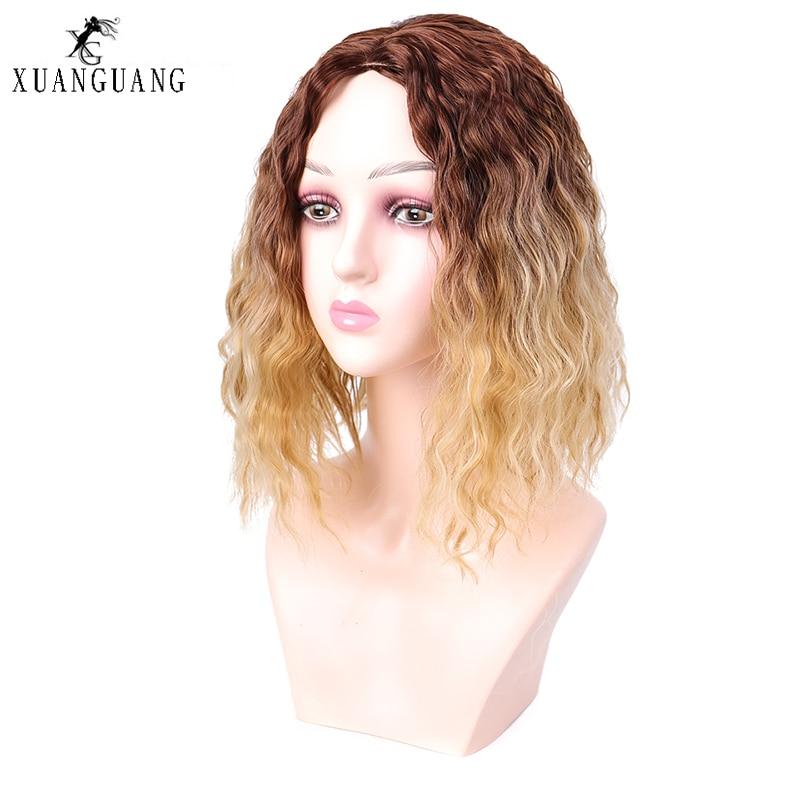 Zarif ve şık sentetik saç kapağı karışık renk kısa saç mısır bıyık golf sopası kılıfı dalga bob yapay nefes peruk