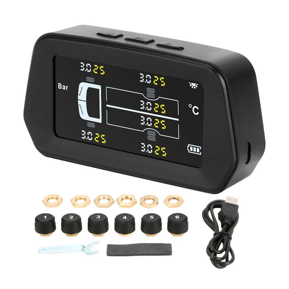 LDC цветной экран Солнечная TPMS автомобильная система контроля давления в шинах 6 колес внутренний внешний датчик температуры