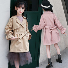 Baby Girl Jacket Spring 2019 Children Kids Fashion Red Bow Belt Trench Coat Outerwear Windbreaker Jackets Little Girls Clothing стоимость