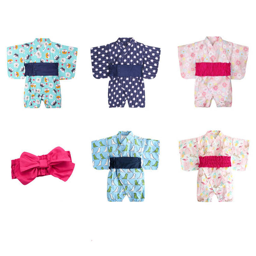Kimono Japanese Style Children 2019 Baby Girl Boy Cartoon Infant Rompers Sakura Samurai Cosplay Costume Jump Suit Kids Pajamas
