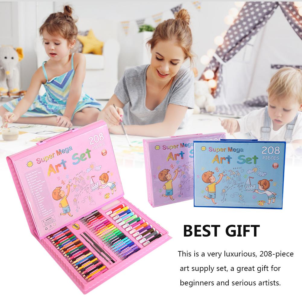 208Pcs Painting Drawing Set Crayon Colored Pencils Watercolors Pens Set Collapsible With Easel Children's Drawing Toy Set