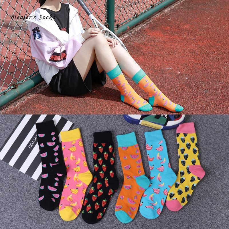 2020 Hot Fashion Women Socks Cotton Color Banana Strawberry Harajuku Happy Fruit Funny Cute Skateboard Hip Hop Girl Tube Socks