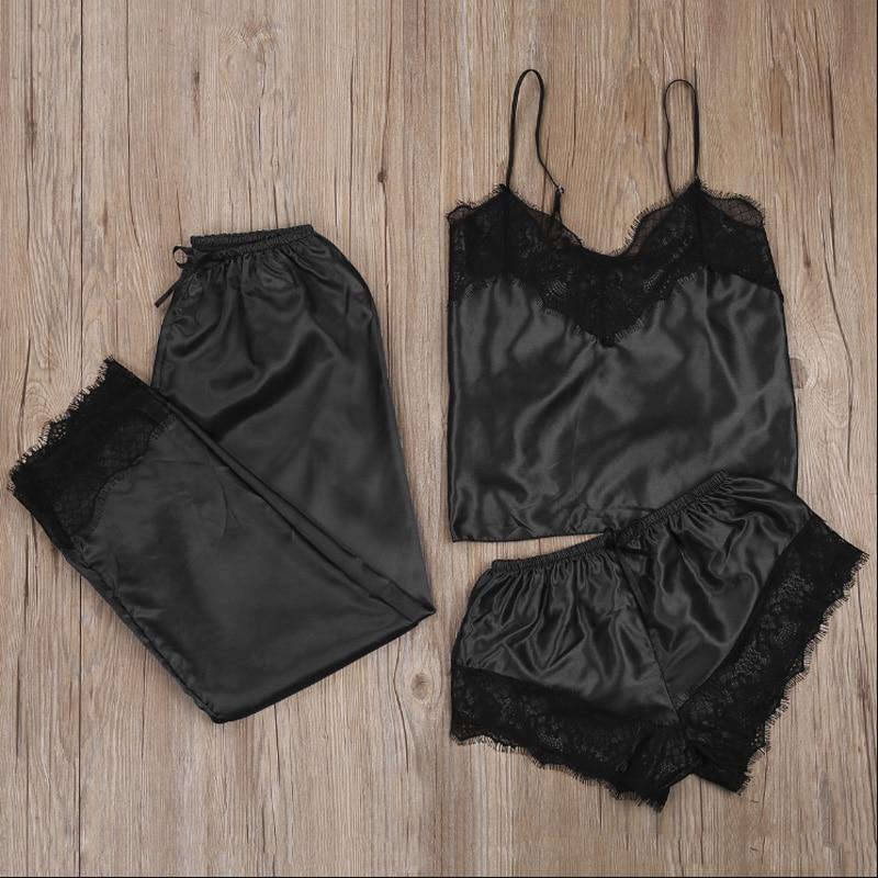 3pcs Women Satin Lace Mesh Sleepwear 9 Colors  Homewear Nightwear Pyjamas Set Female Sexy Sleepwear Outfits