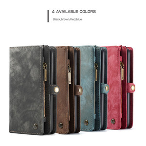 CaseMe съемный чехол-кошелек из искусственной кожи на молнии для iPhone 11 Pro Max XS XR SE 6S 7 8 Plus Oneplus 7 Pro Huawei P20 Lite P30