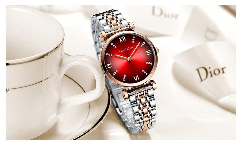 Woman Watch 2019 GUANQIN GS19122 Quartz Luxury Brand Ladies Watch Green Waterproof Simple Fashion Wrist Watch Tool Dropshipping (11)