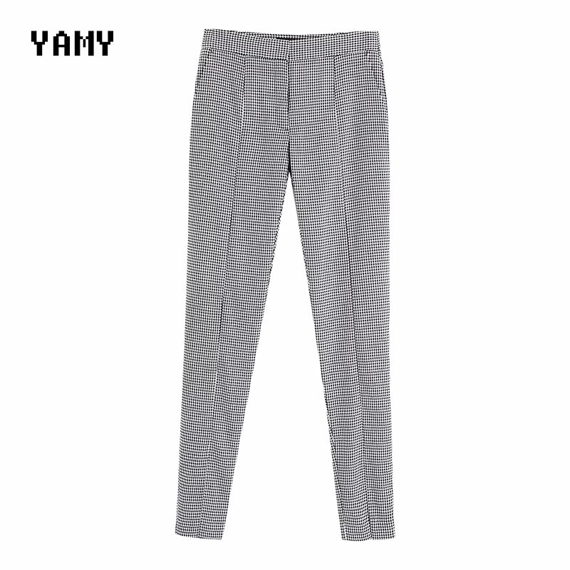 New Design Womens Houndstooth Pants Trousers High Waist Casual Office Pants Front Split Chic Womens Zora Pant Za Sweatpant 2019