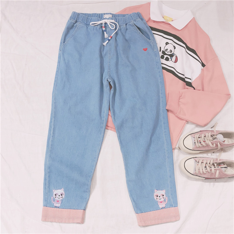 2019 Autumn New Japanese Harajuku Kawaii Wild Loose High Waist Cat Embroidery Jeans Women Small Fresh Mori Girl Pants Korean