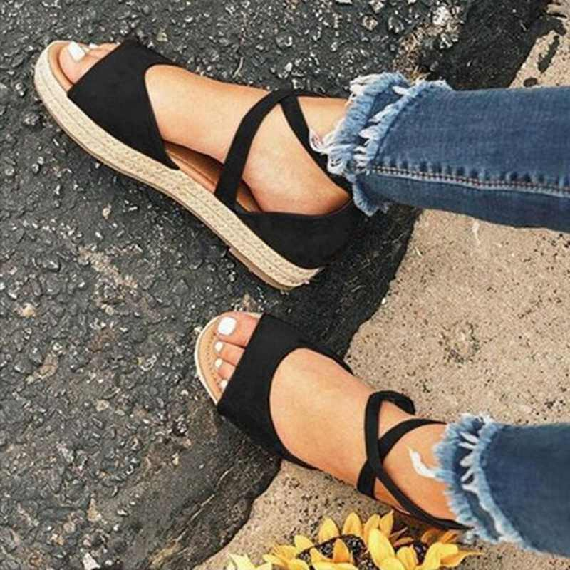 Litthing Delle Donne Sandali Gladiatore Peep Toe Buckle Design Sandali Romani Donne Scarpe Basse Della Spiaggia di Estate Scarpe Da Donna Sandali