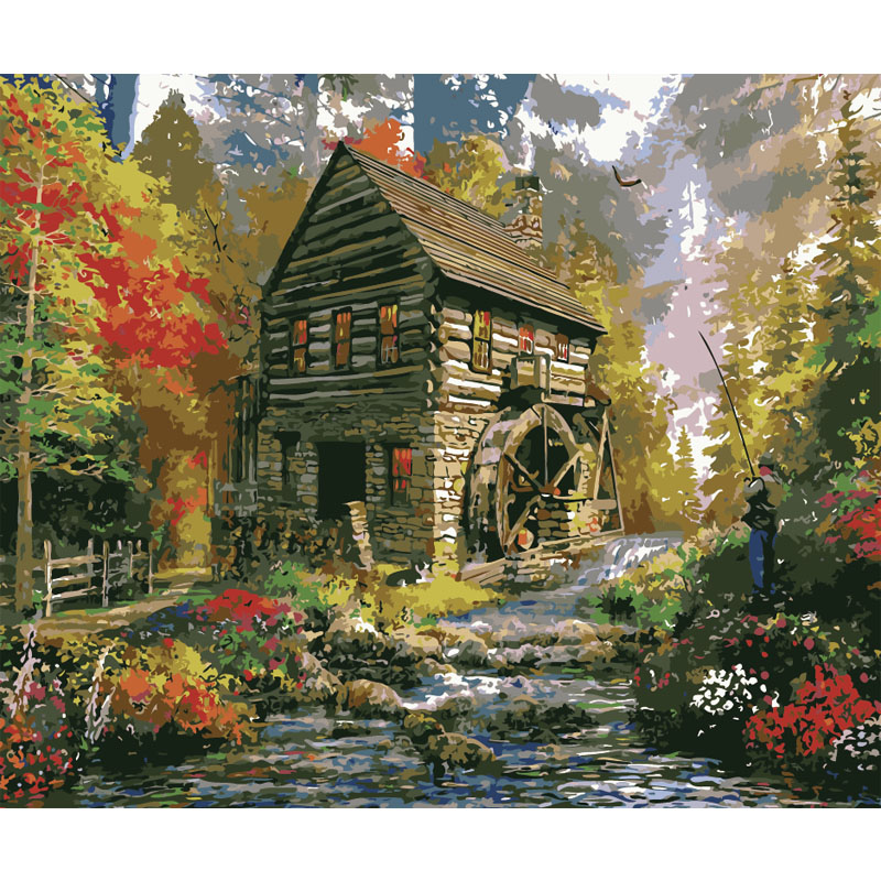 A Cabin In The Forest.40x50cm,Painting By Numbers,DIY,wall Art,Living Room Decoration,Scenery,Figure,Animal,Flower,Cartoon