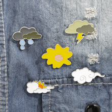 цена на SO Cute the weather Enamel Pins Cartoon clouds Brooches Badge Denim jeans Lapel Pin Dream Jewelry Gift for kids friends