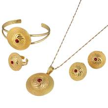 Ethiopian 24K Gold Color Round Pendant Jewelry Set Habesha African Wedding Bride Eritrea Trendy Jewelry Set(China)