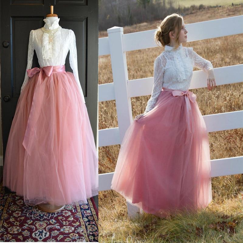 7 Layers 100cm Long Tulle Skirts Women Floor-Length Pleated Skirt Fashion Wedding Bridal Bridesmaid Skirt Faldas Jupe Saias