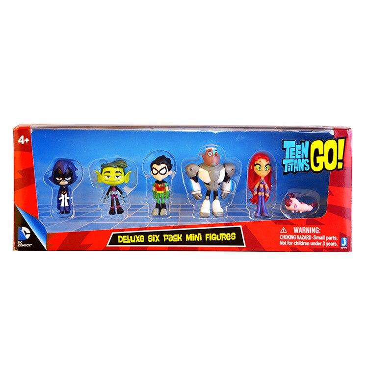 5-13CM Titãs Vão Figuras de Ação Brinquedos Robin Mutano Cyborg Corvo Titans Figura Brinquedos para As Crianças