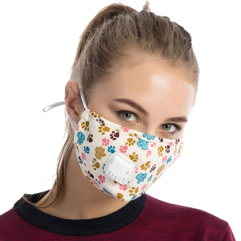 Unisex Winter Cotton PM2.5 Mouth Mask Cartoon Printed Anti Dust Pollution Earloop Respirator