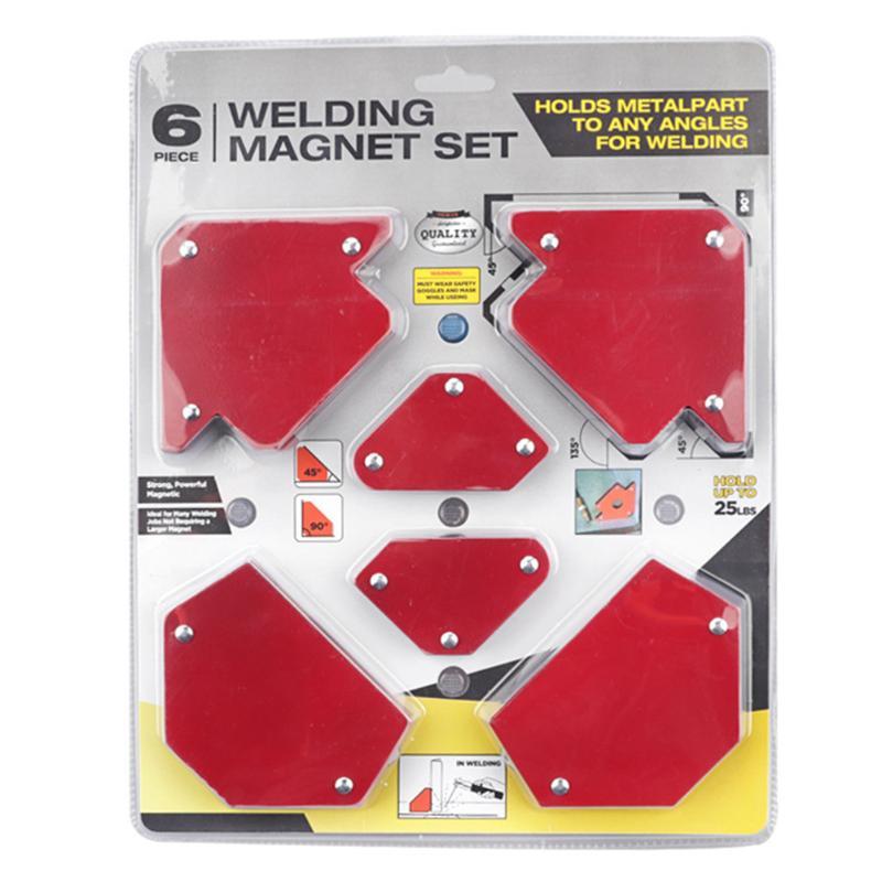 6pcs 9Lbs Magnetic Fix Welding Magnets Holder 3 Angle Arrow Welder Soldering Locator Welding Power Tools Accessories
