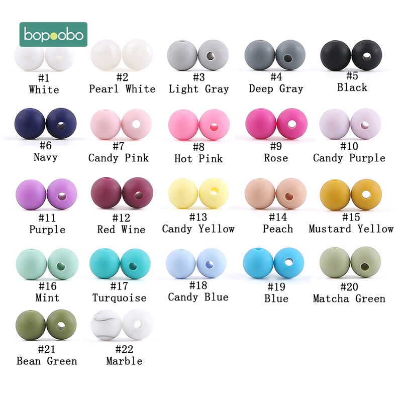 Bopoobo 30pc Silicone Beads 9mm Silicone Baby Teething Products Chews Pacifier Chain Clips Tiny Rodent Beads Baby Teethers Toys