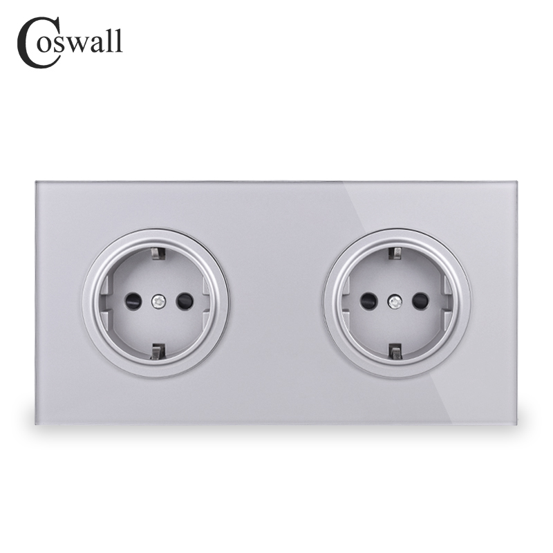 Coswall Crystal Tempered Full Glass Panel 16A Double EU Standard Wall Power Socket Grounded With Child Protective Lock Grey Gray