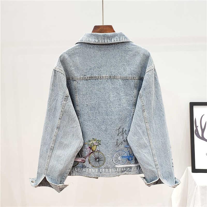 Streetwear kadın Denim ceket moda baskı kot ceket bayan gevşek Denim ceket yıkanmış kot mont Graffiti Harajuku ceketler