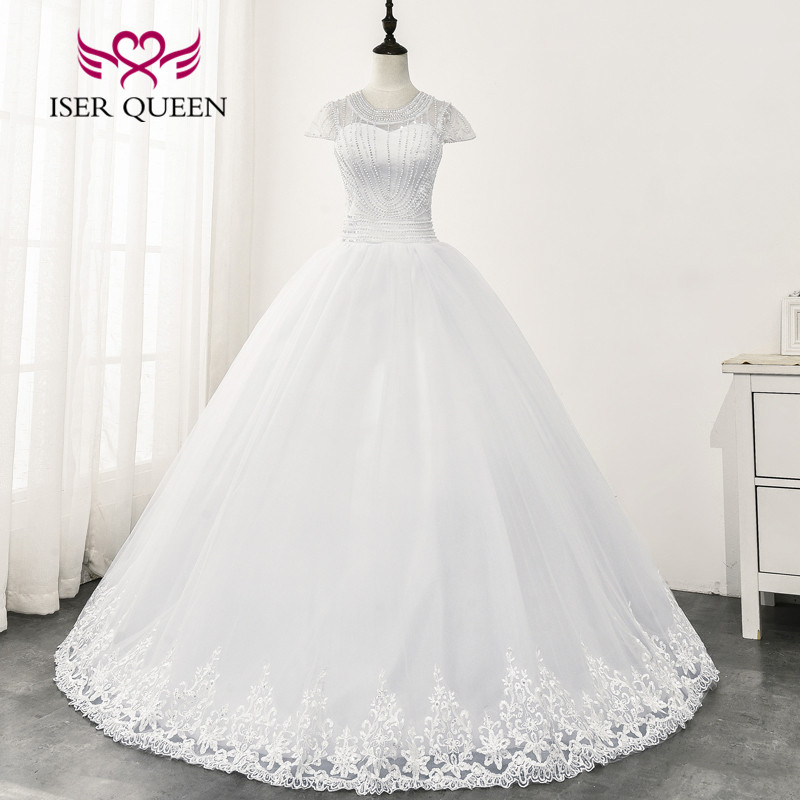 O Neck Short Sleeves Africa Wedding Dresses 2020 New Pearls Beading Ball Gown Tulle Wedding Dress Pure White Bride Dress  WX0165