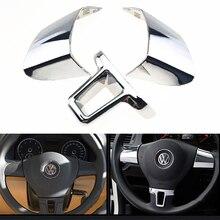 3 штуки, украшение на руль, блестящий чехол, наклейка для Volkswagen VW Golf 6 MK6 Polo Jetta MK5 2009 2010 2011 Polo