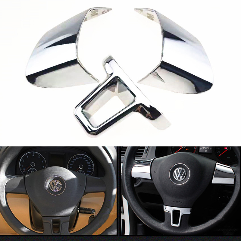 3 Pieces Steering Wheel Decoration Sequins Cover Sticker For Volkswagen VW Golf 6 MK6 Polo Jetta MK5 2009 2010 2011 Polo