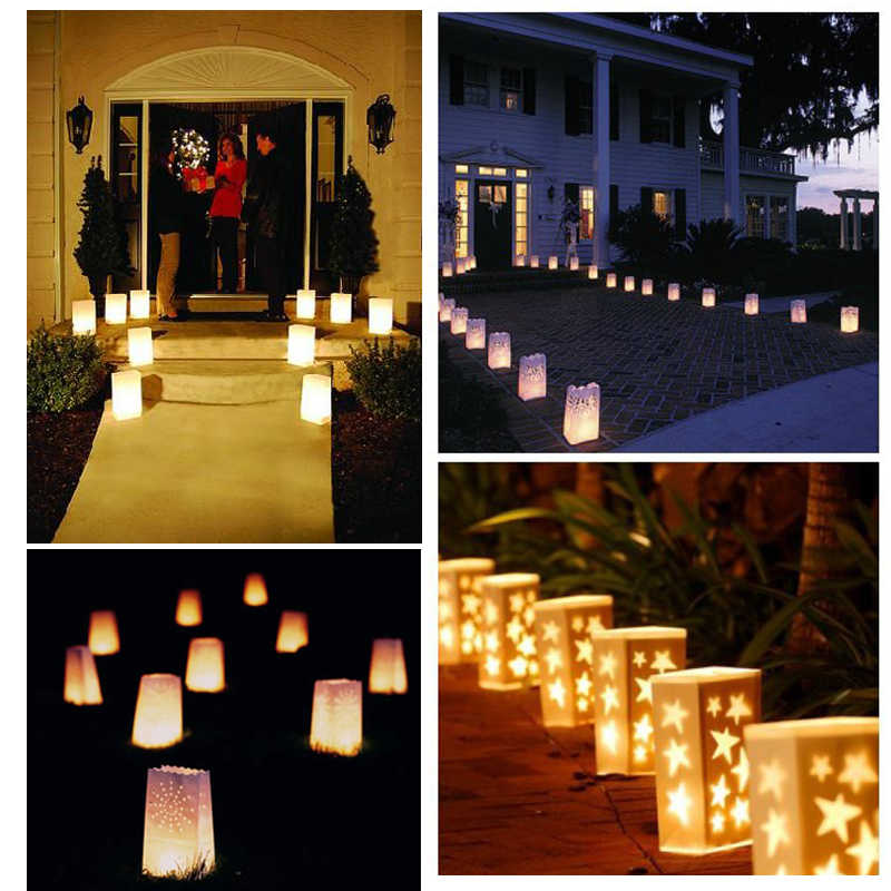 20 ชิ้น/ล็อตรูปหัวใจชา Luminaria กระดาษโคมไฟเทียนสำหรับคริสต์มาสปาร์ตี้งานแต่งงานกลางแจ้งตกแต่งใหม่