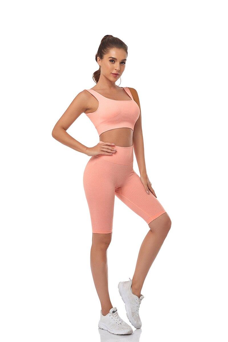 shorts & bra workout outfits estiramento roupas esportivas terno