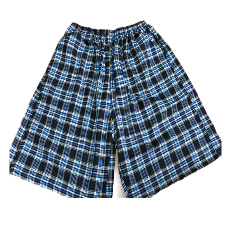 Cotton Plaid Beach Shorts Short Booth Goods Pants Length To Knee Under Obesity Men Ultra-Large Size Trunks