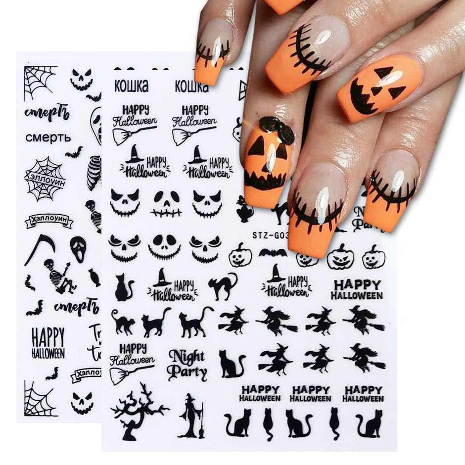 Halloween Nagels Zwart Stickers Nail Art Decals Spider Ghost Pompoen Cool Spooky Slider Wraps Nail Decor Manicure CHSTZG032-040