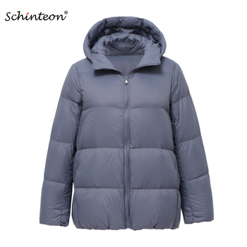 2020 Schinteon Light Down Jacket 90% White Duck Down Coat Casual Loose Winter Warm Outwear with Hood High Quality 9 Colors 1