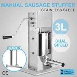 3L pionowa komercyjnych kiełbasa nadziewarka dwie prędkości mięsa ze stali nierdzewnej naciśnij