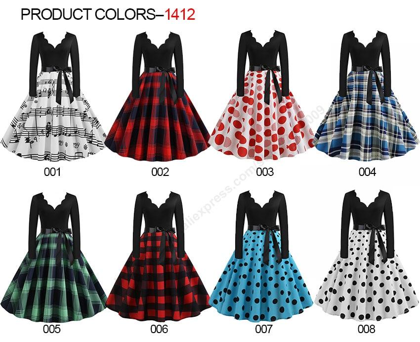 Women Long Sleeve Winter Vintage Dresses Sexy Black Music Note Print V-neck Rockabilly Pin up Party Dress Vestidos Plus size 505