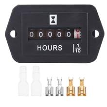 HM002 mechanical hour meter 6V-80V DC Black ABS car Hour meter Automobile decoration accessories car Timer Gauge six hour black card 450ml 15