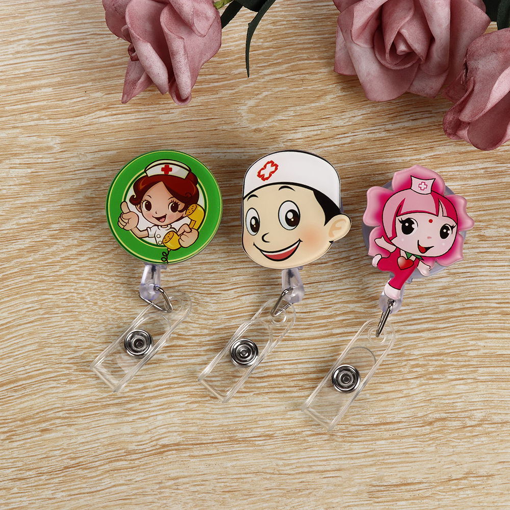 1PC Retractable Pull Badge Reel Zinc Alloy Plastic ID Lanyard Name Tag Card Badge Holder Reels Belt Key Ring Chain Clips