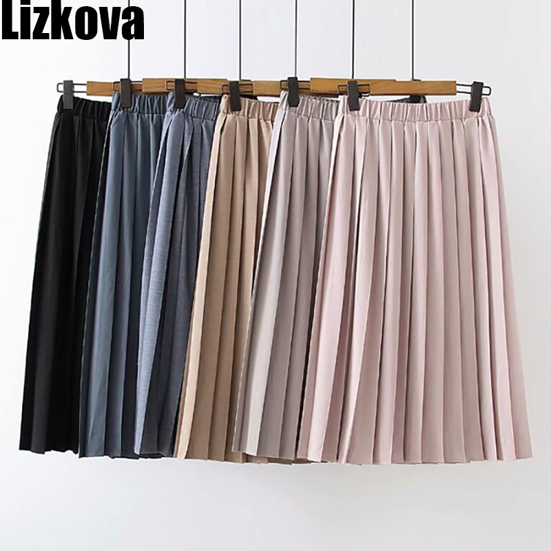 2020 Spring Pleated Skirt Women Pink High Waist Midi Skirt Summer Plus Size Casual Skirt Elastic Waist PYQ001