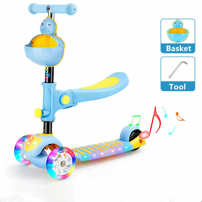 ポータブル子供スクーター折りたたみ調節可能なフリースタイル市スクーターファンシー子供のおもちゃキッズミュージカルスクーター懐中電灯