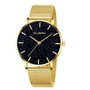 Image 4 - CUENA 高級ファッションカジュアルゴールドシルバー腕時計レディース女性のメッシュ鋼ストラップブランドアナログクォーツダイヤモンド腕時計腕時計