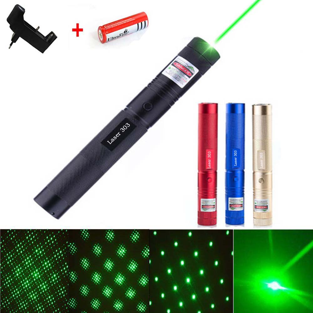 Hunting Red Blue Laser Sight Green Laser Pointer 5mw Hight Powerful Adjustable Focus Lazer Lasers 303 Charger And 18650 Battery
