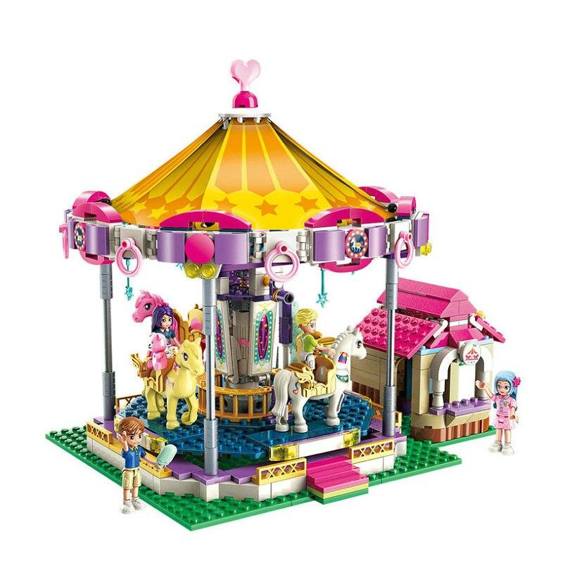 Carrousel parc princesse amie filles fête série bloc de construction jouet Figure avec LegoINGlys brique cadeau jouet pour enfants enfants