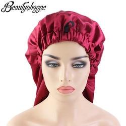 Longue surdimensionné élastique satin baril soie cheveux bonnet respirant bonnet de couchage turban sommeil chapeaux pour adulte