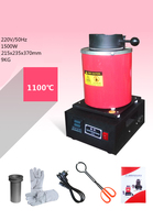 Forno de fusão do ouro de 110 v 2kw com controle automático de temperatura & display com extra 1pc 2kg cadinho