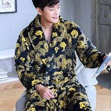 Robe masculino de lã coral, roupão de dormir quente para outono e inverno, grosso, para camisola, lazer e casa