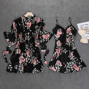 Image 1 - שחור אביב חדש נשים 2pcs חלוק חליפת הלבשת מזדמן הבית ללבוש פיג מה סקסי רצועת Nightwear שינה קימונו אמבט שמלה סטים