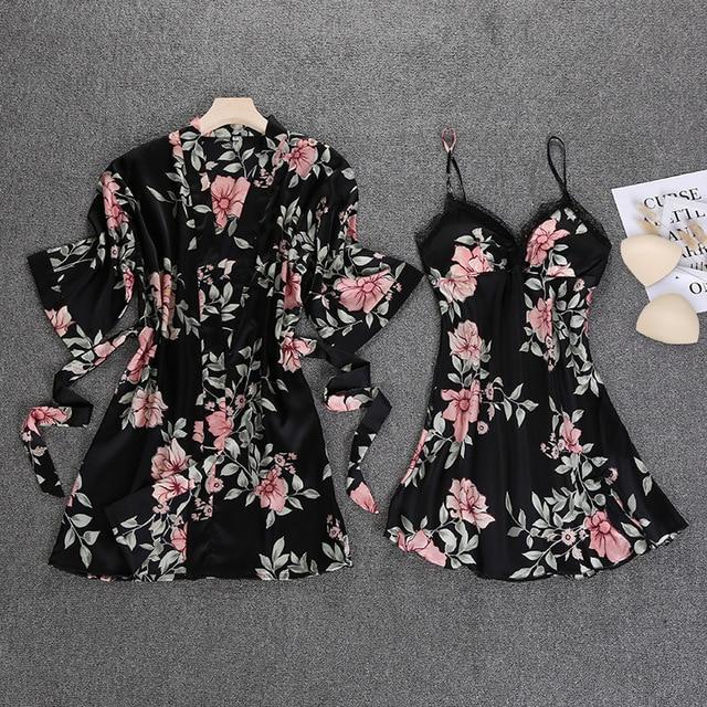 Black Spring NEW Womens 2pcs Robe Suit Sleepwear Casual Home Wear Pajamas Sexy Strap Nightwear Sleep Kimono Bath Gown Sets