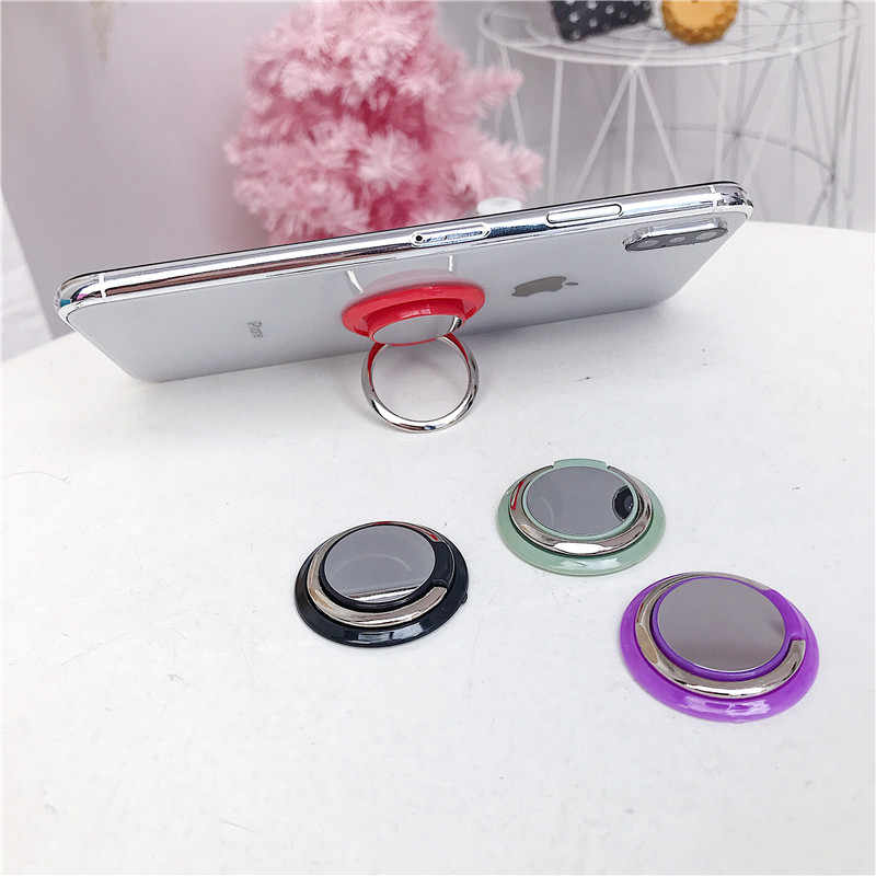 Specchio universale presa di smart rotondo anello di barretta di metallo supporto della staffa del telefono mobile del basamento del Supporto Dell'automobile Del Basamento per la cassa della Galassia di Samsung