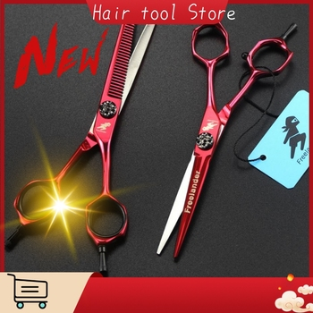 6Inch High Quality Salon Professional Hairdressing Hairdressing Scissors Red Personality Flat Cut Teeth Shear Thinning japan440c 9inch professional shark teeth fishing bone pet thinning hairdressing scissor pet grooming shear tesouras hairstyle tool