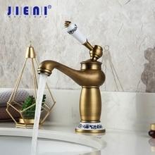 JIENI RU grifo de latón antiguo con caño, grifo de fregadero para baño, mezclador de agua caliente y fría de latón macizo, grifo de lavabo de tocador