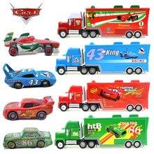 Disney pixar carros 2 relâmpago mcqueen o rei pintainho hicks f1 tio mack caminhão e pequenos brinquedos carros clássico combinação roupa