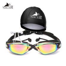 YUELANG Swimming Goggles Swimming cap earplug suit arena Durable Silicone  Anti-fog Anti-UV Waterproof adult Professional