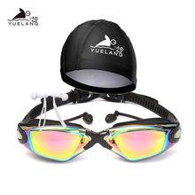 YUELANG – lunettes de natation, casquette, bouchon d'oreille, combinaison arène, Silicone Durable, Anti-buée, Anti-UV, imperméable, professionnel pour adultes
